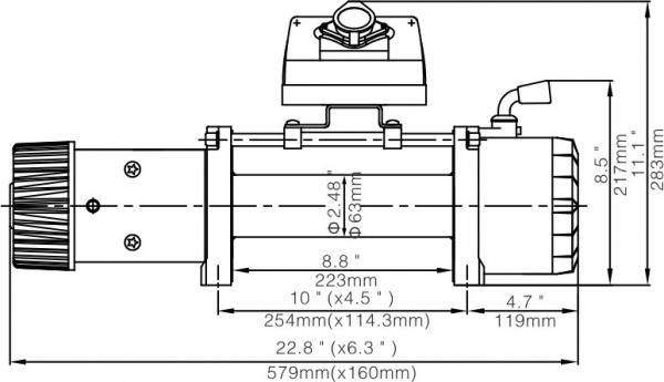 Лебёдка электрическая 12V Runva 12000 lbs 5700 кг