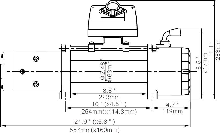 Лебёдка электрическая 12V Runva 10000 lbs 4500 кг