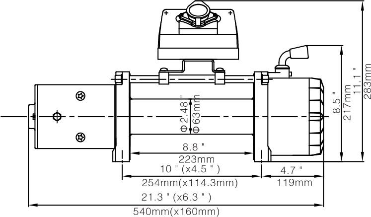 Лебёдка электрическая 12V Runva 8000 lbs 3629кг