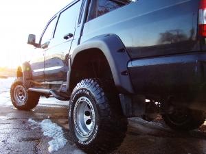 Комплект расширителей арок на УАЗ Пикап, дорестайлинг, без накладок на бампер